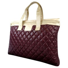 Chanel Cocoon Xl Quilted Bicolor 217350 Bordeaux X Champagne Gold Leather Tote