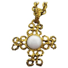 Chanel Gold 93a Cc Baroque 216452 Necklace