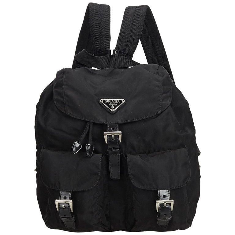 5956cc888f76c2 Prada Black Nylon Drawstring Backpack at 1stdibs