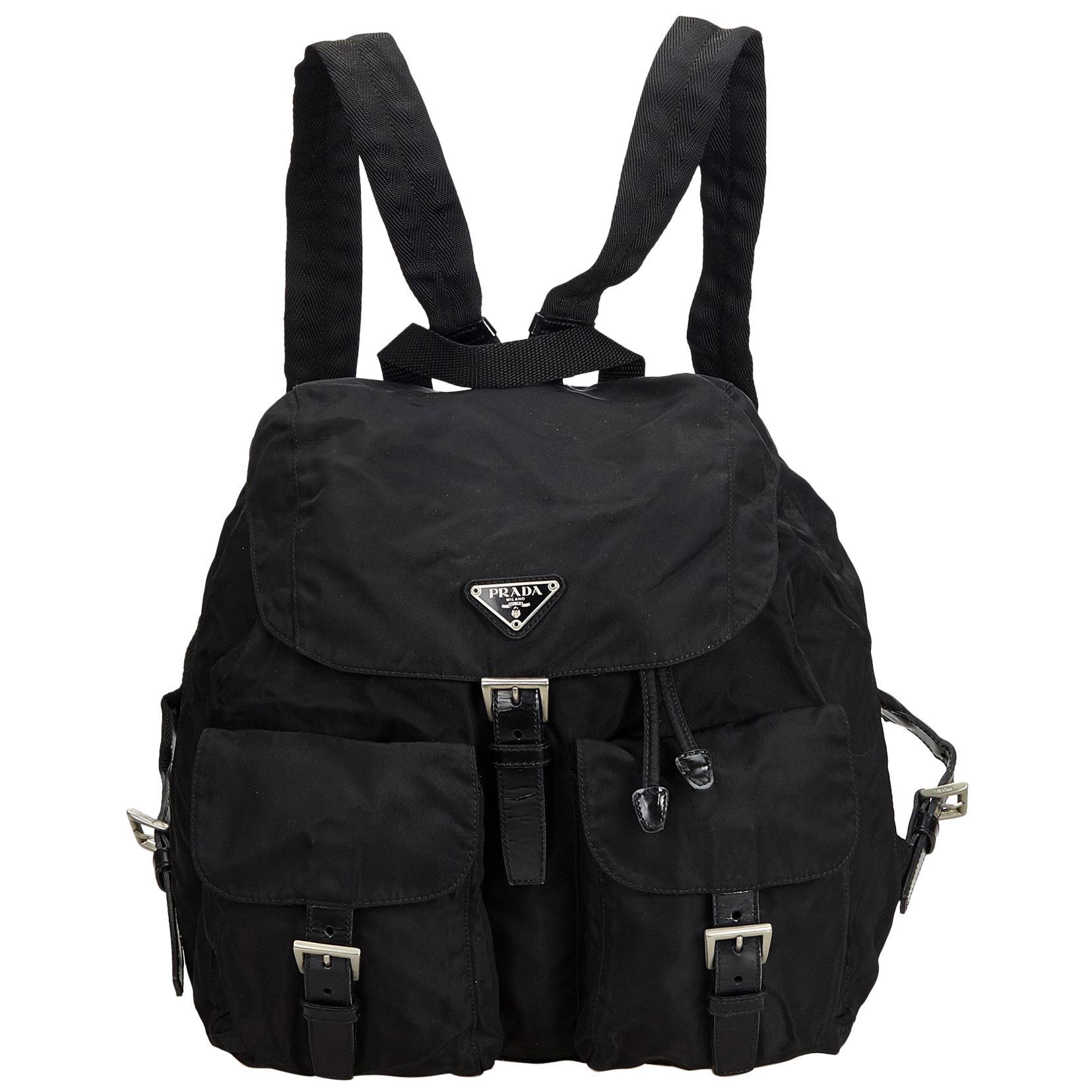 f8122a9eacb6 ... uk prada black nylon backpack f8595 2a137