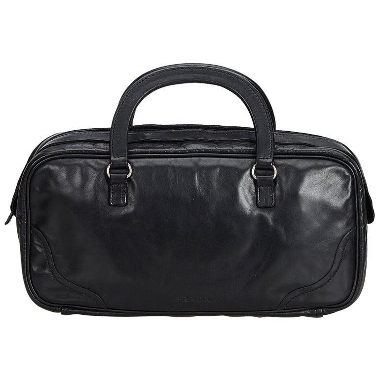 52c9bdc6c1b4 Prada Black Leather Handbag at 1stdibs