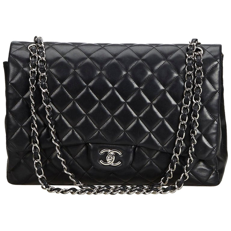 4cd0d67dc80948 Chanel Black Classic Maxi Lambskin Leather Single Flap Bag at 1stdibs