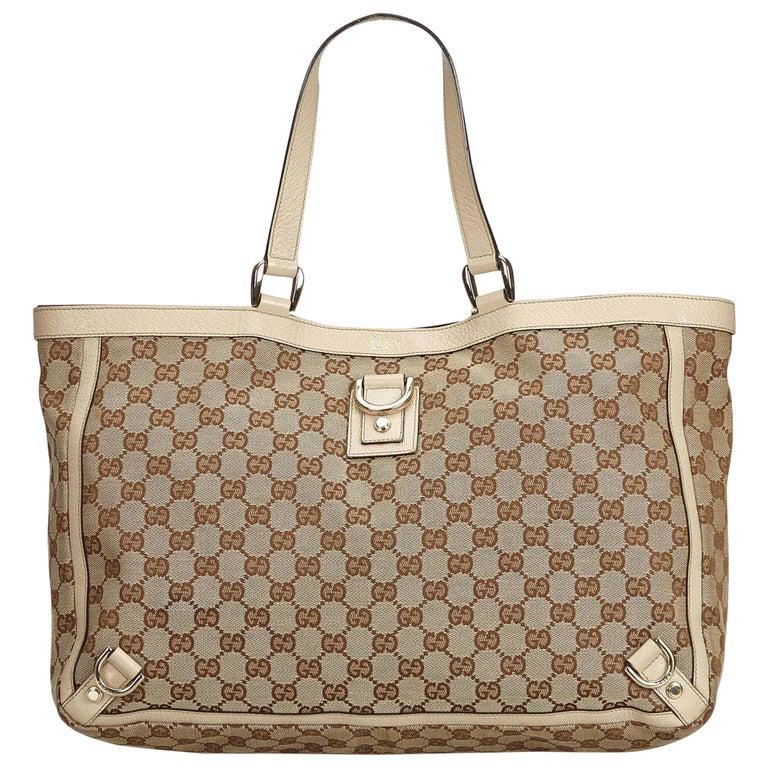 c98e2df9e Gucci Brown GG Abbey-D Ring Tote Bag at 1stdibs