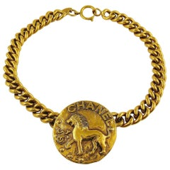 Chanel by Robert Goossens Vintage Zodiac Lion Medallion Choker Necklace