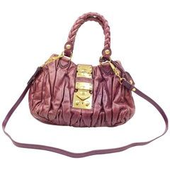 Miu Miu Quilted Matelasse 2way 2182439 Purple Fuchsia Leather Shoulder Bag