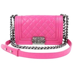Chanel Boy Small Lambskin Le 9617ct13 Hot Pink Leather Shoulder Bag