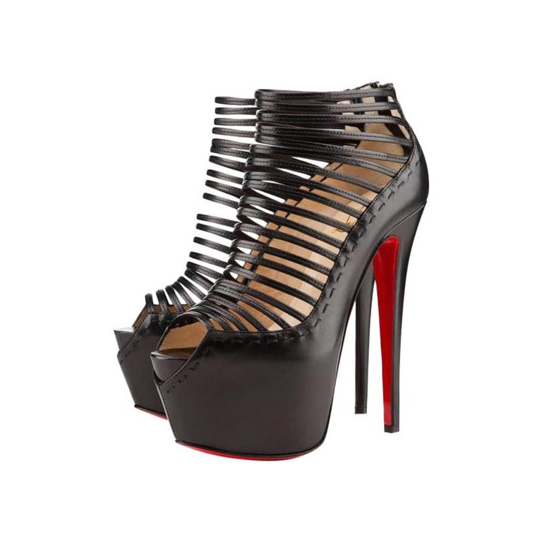 Christian Louboutin Black Leather Zoulou Strappy Platform 9617clt6 Pumps For Sale