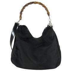 Gucci Bamboo Two Way 220935 Black Nylon Hobo Bag