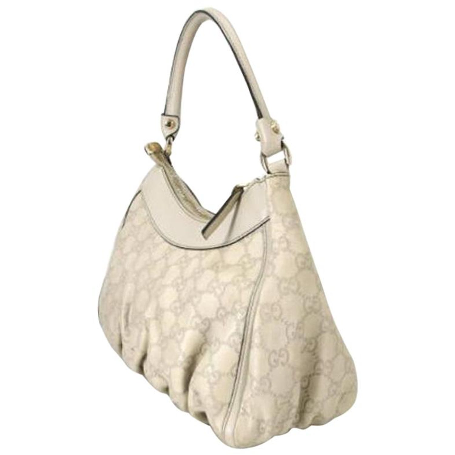 4d999e338785d6 Gucci Guccissima Small D-ring 220933 Ivory Leather Hobo Bag at 1stdibs