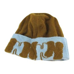 Hermès Blue X Brown H Logo Graffiti Beanie 220995 Hat 3f9c218ca34a
