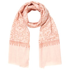 Limited Edition Hand Embroidered Pale Pink 100% Cashmere Shawl - Gift