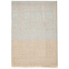 Hand Embroidered Cashmere Scarf in Natural Taupe & Blue Made in Kashmir India