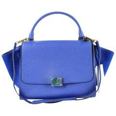 Céline Trapeze Drummed Calfskin Suede Small 819cet1 Blue Leather Shoulder Bag
