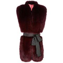 Verheyen London Legacy Stole in Garnet Burgundy Fox Fur & Silk Lining - Gift