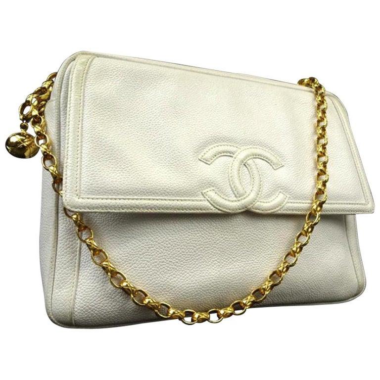 8777c770a831 Chanel Camera Large Caviar Cc Logo Flap 220510 White Leather Shoulder Bag  For Sale