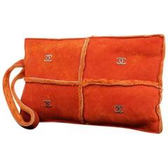 Chanel Camera Cc Quilted Shearling Crossbody 219304 Orange Leather Shoulder Bag