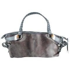 Gucci Hair Woven Handle Tote 824gt16 Grey Pony Fur Shoulder Bag