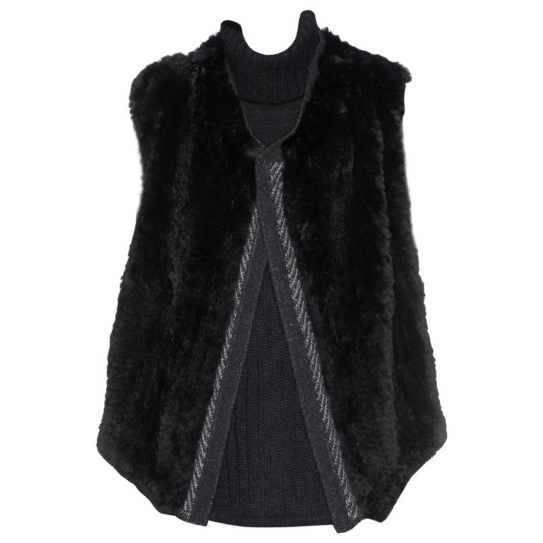 3b241cd7ff19e Vince Rabbit Fur Open Gilet Size 6 For Sale at 1stdibs