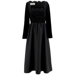 Valentino black velvet-panel wool & silk-blend dress US 6
