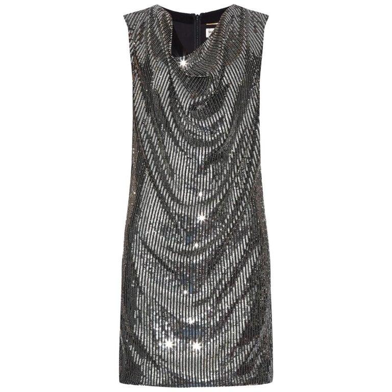 Saint Laurent Cowl-Neck Sequin-Embellished Mini Dress For Sale