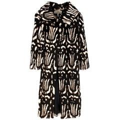 Valentino Boutique Abstract Print Rabbit Fur Long Coat US 8