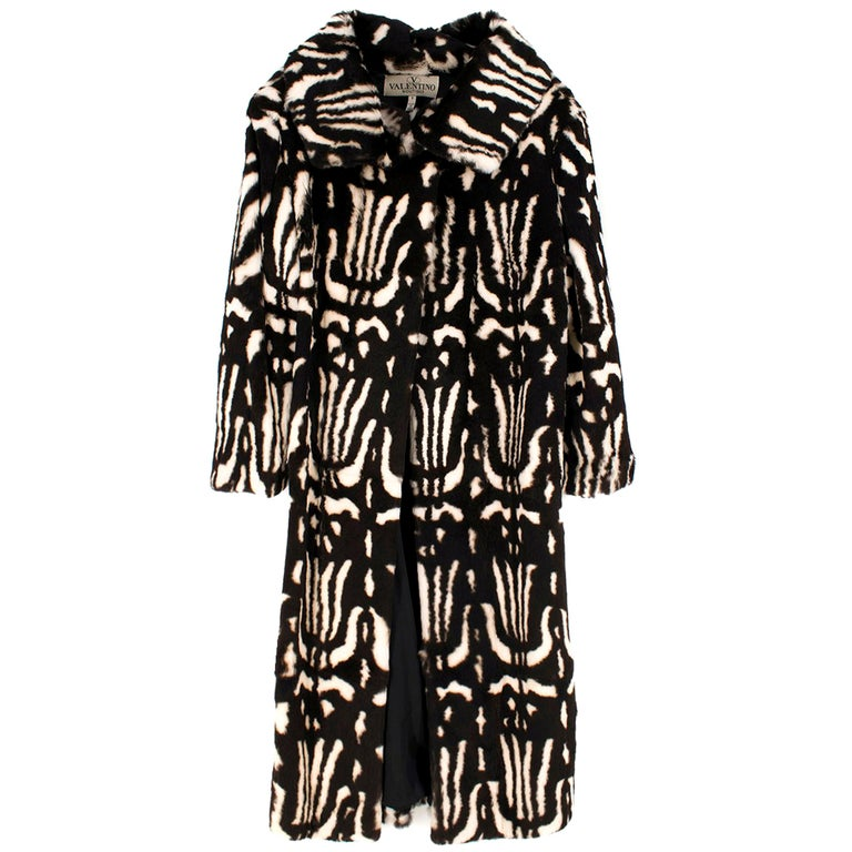 Valentino Boutique Abstract Print Rabbit Fur Long Coat US 8 For Sale