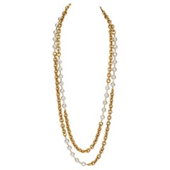 1980's Chanel Double Strand Faux Pearl Necklace