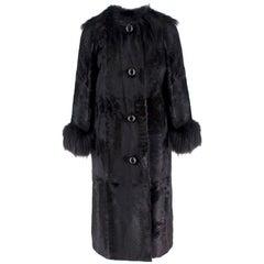 Lanvin Black Lambs Fur Long Coat With Fox Fur Trim US 6