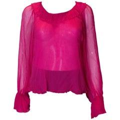 Vintage Pink Silk Top