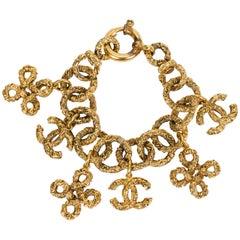 1990's Chanel Florentine Logo Charms Bracelet