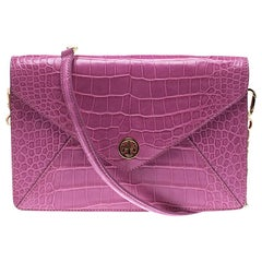 Tory Burch Pink Croc Embossed Leather Shoulder Bag