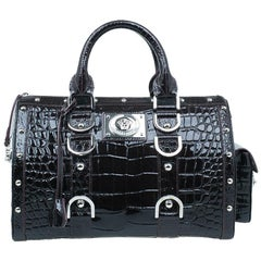 Versace Purple Croc Embossed Patent Leather Snap Out Of It Satchel Bag