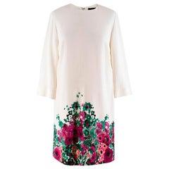Elie Saab floral-print white cady shift dress US 4