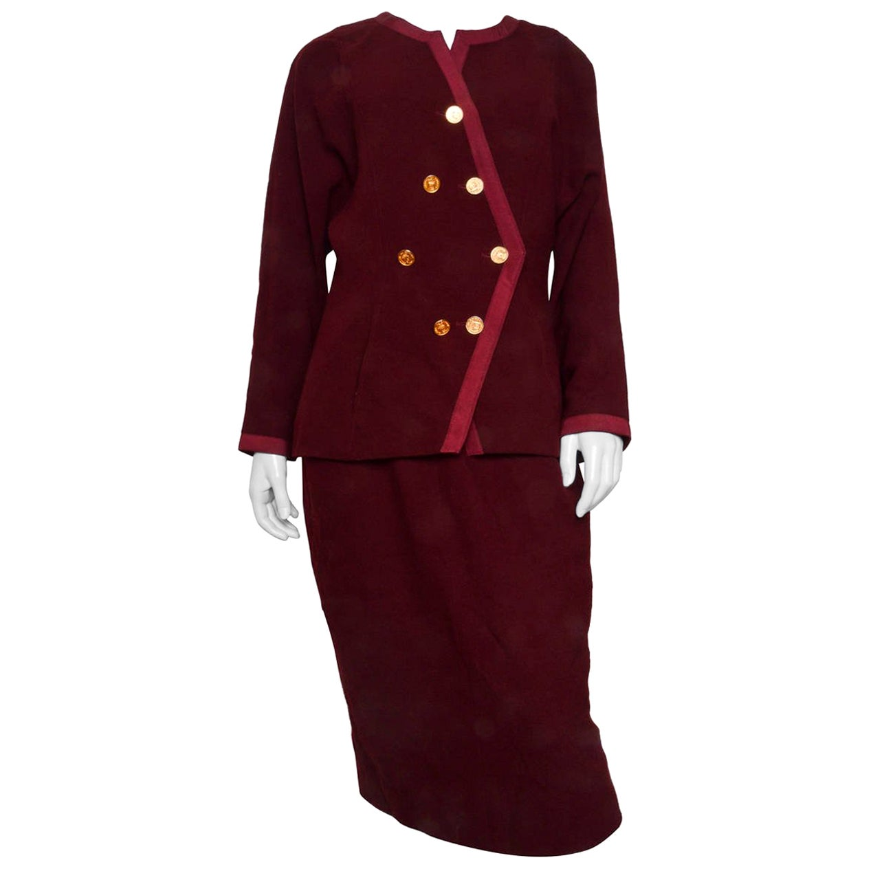 Chanel Burgundy Wool Knit Suit