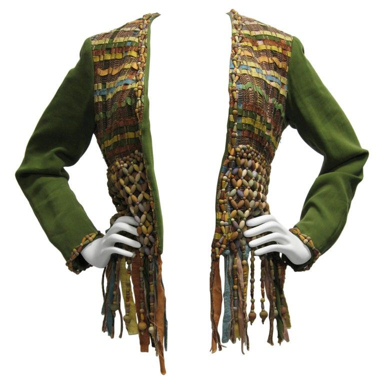 Moschino Couture Intricately Woven & Beaded Tassel Jacket For Sale
