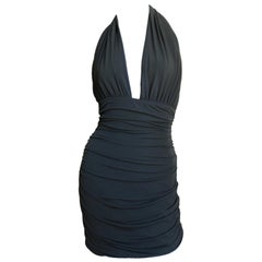 1980s Norma Kamali Plunge Halter Dress