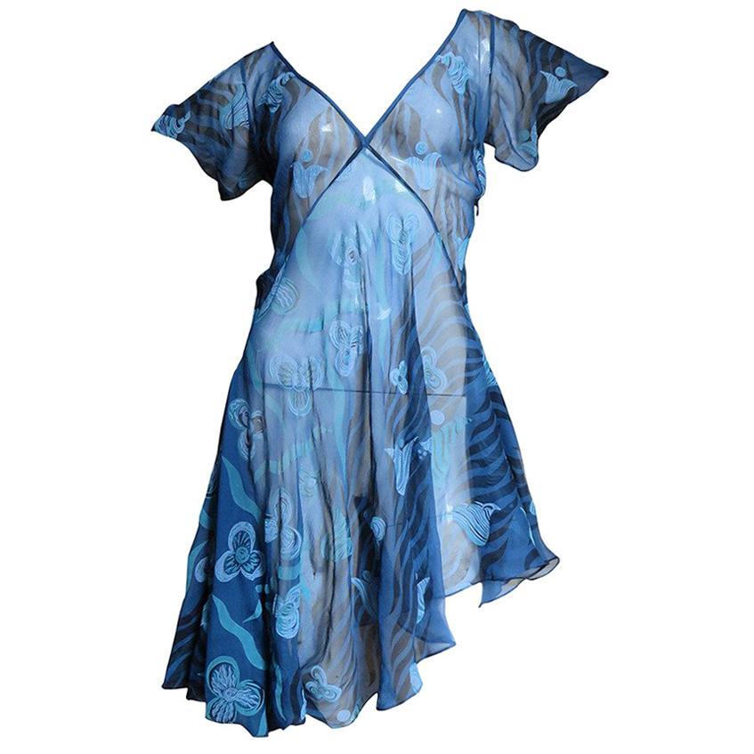 1990s Zandra Rhodes Asymmetric Silk  Dress