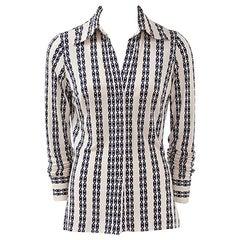 Céline Printed Silk Jersey Day Shirt Blouse