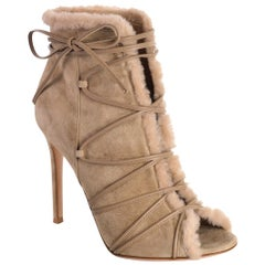 Gianvito Rossi Womens Aspen Brown Suede Ankle Boots Size IT37.5/US7.5~RTL$1235