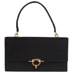 Hermes Vintage Black Suede Sac Cordeliere Top Handle Bag