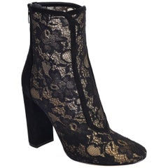 3f953829f Gianvito Rossi Womens Black Lace Suede Boleyn Ankle Boots IT37.5 US7.5