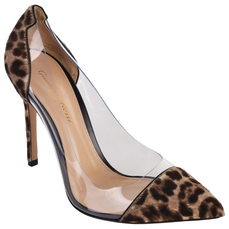 8653ee7bf90 Gianvito Rossi Womens Leopard Print Pony Transparent Pumps IT35.5 US5.5~