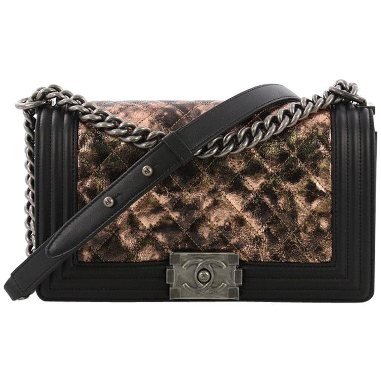 ae7ab8012c9c Chanel Boy Flap Bag Quilted Metallic Crumpled Goatskin Old Medium For Sale  at 1stdibs