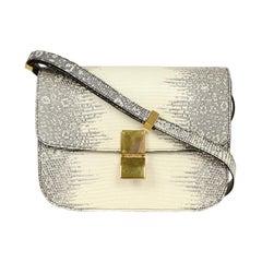Celine White/Grey Ombre Lizard Medium Box Bag with Receipt