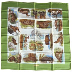 Gucci Silk Scarf Animal Safari Greens New, Never worn 1990s