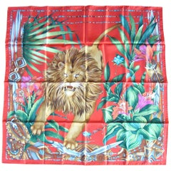 Gucci  Silk Scarf Lion & Floral Vibrant Red Green New, Never worn 1990s