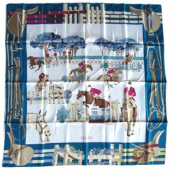 Gucci Silk Scarf Horse Show New, Never worn 1990s