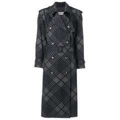 Yves Saint Laurent Graphic Cotton Trench Coat Black and Grey