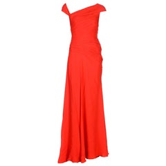 New Versace Lipstick Red Silk Corset Long Dress Gown It. 42
