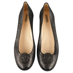 BOTTEGA VENETA Size 11.5 Black Woven Intrecciato Leather Butterfly Flats